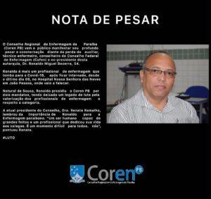 coren 300x282 - Ex-presidente do Coren-PB e capitão da PM, Sousense Ronaldo Beserra morre aos 54 anos com Covid-19