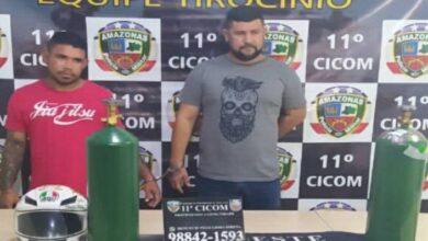 DUPLA PRESA 390x220 - ZEBRA : Dupla é presa após pintar extintores de incêndio para vender como cilindros de oxigênio em Manaus.