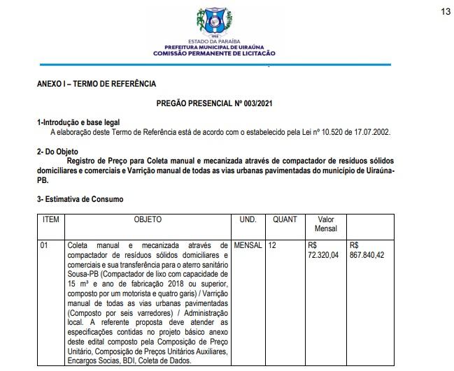 licitacao lixo una - Com licitação ''salgada'', prefeitura de Uiraúna pretende gastar mais R$ 70 mil por mês com contratação de empresa de lixo; VEJA