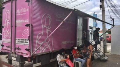 camiao 390x220 - Secretaria de saúde em parceria com caminhão amigo do peito realizará mamografias em Bonito de Santa Fé.
