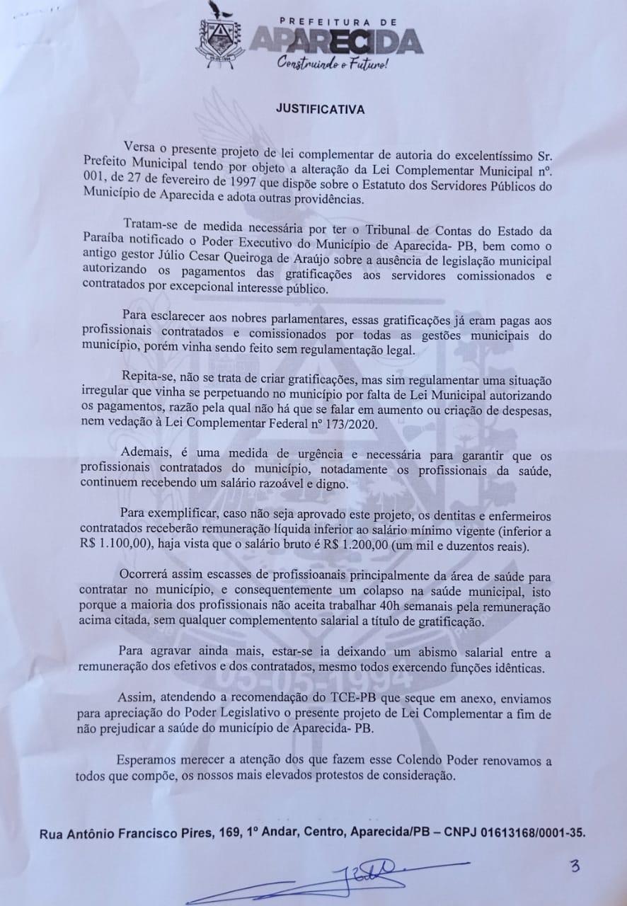 1PL - COVARDIA : Em plena pandemia vereadores de oposição votam contra PL que previa benefícios em gratificações para os servidores da prefeitura de Aparecida.