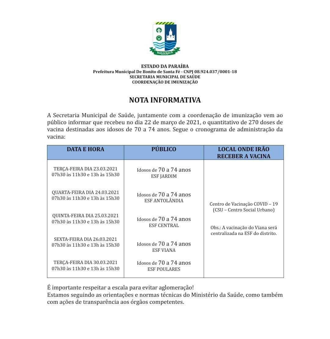VACINA BONITO 3 NOTA - Prefeitura de Bonito de Santa Fé inicia vacinação contra Covid-19 para idosos a partir de 70 anos