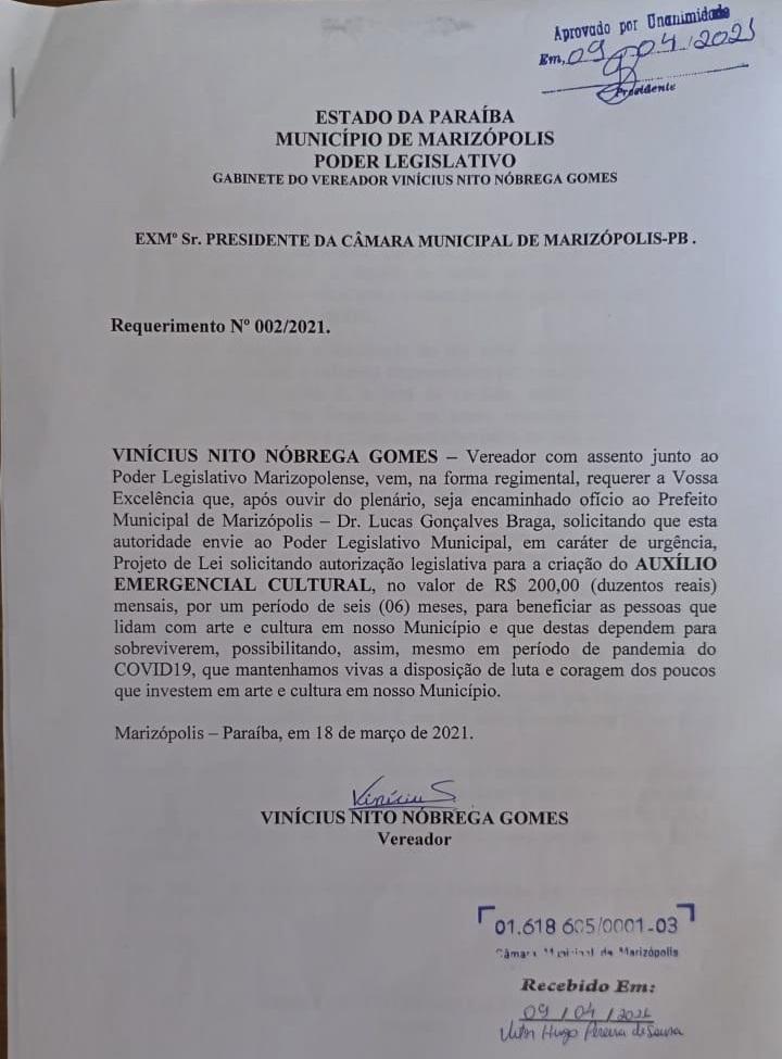 MARIZOPOLIS1 - Presidente da Câmara Vinícius Gomes defende criação de Auxílio Emergencial Municipal para o setor cultural em Marizópolis.