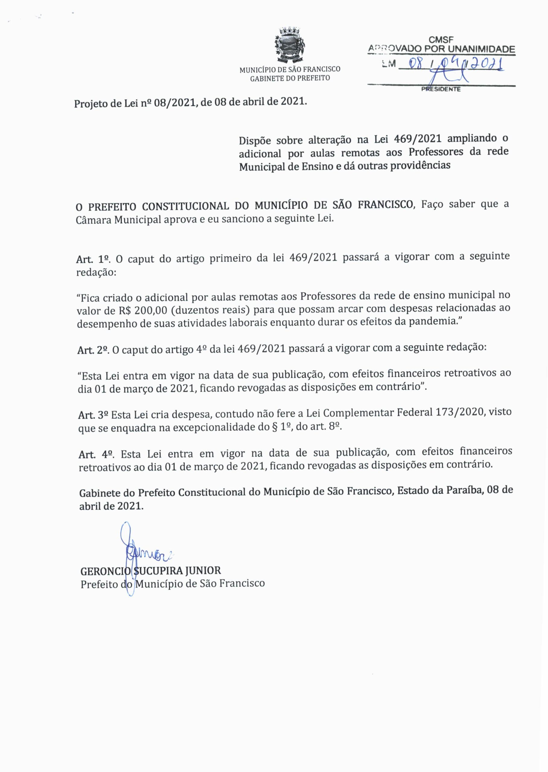 Projeto de Lei 008 202109042021 scaled - Câmara de Vereadores de São Francisco aprova projeto de auxílio emergencial para professores da rede municipal de educação.