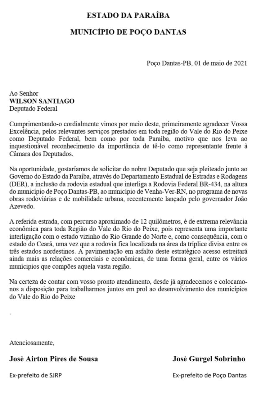 CARTA RODOVIA - ELEIÇÕES 2022: Aírton Pires recebe apoio do ex-prefeito de Poço Dantas que se une á luta pela conquista da rodovia de Poço Dantas ao RN.