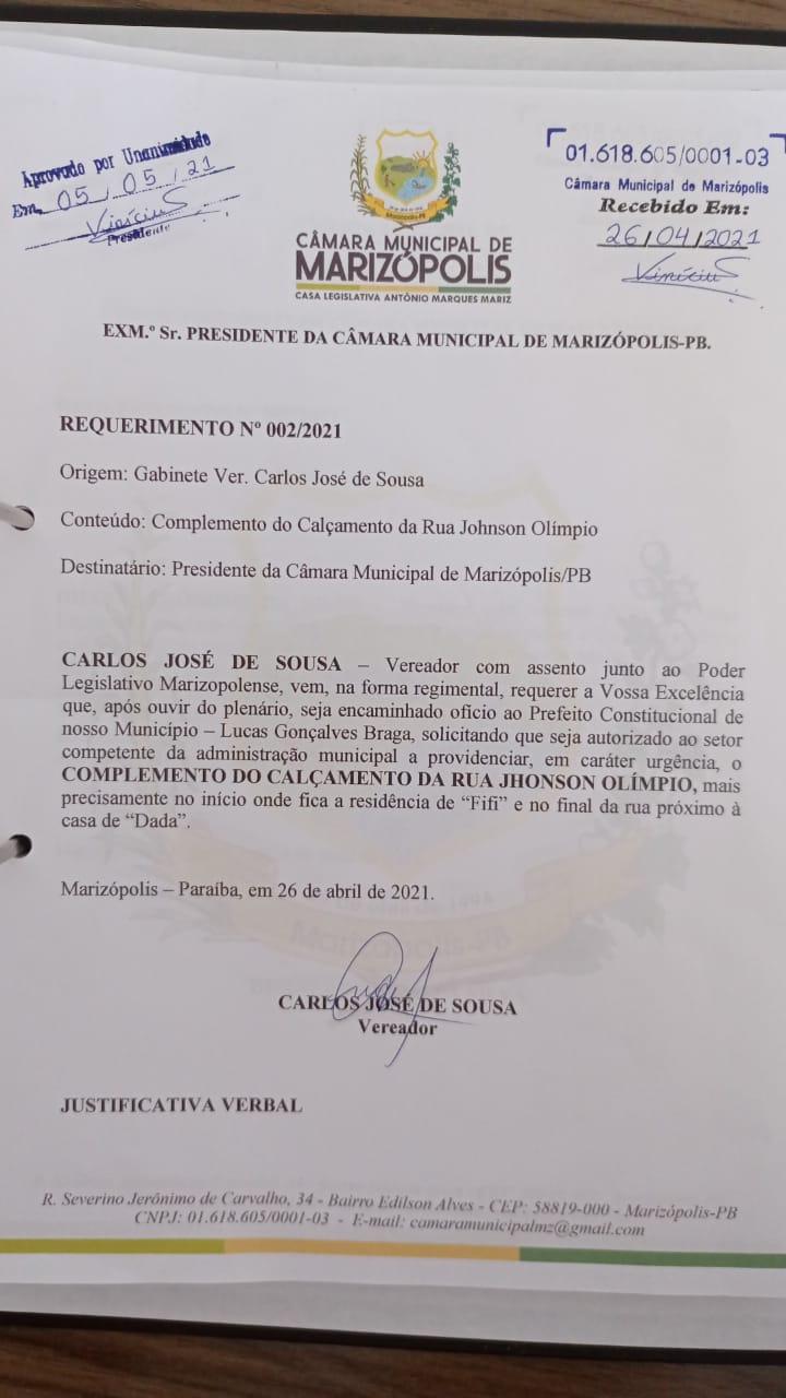 MARIZOPOLIS1 - Câmara Municipal de Marizópolis aprova projetos e requerimentos na sessão desta quarta-feira (05)