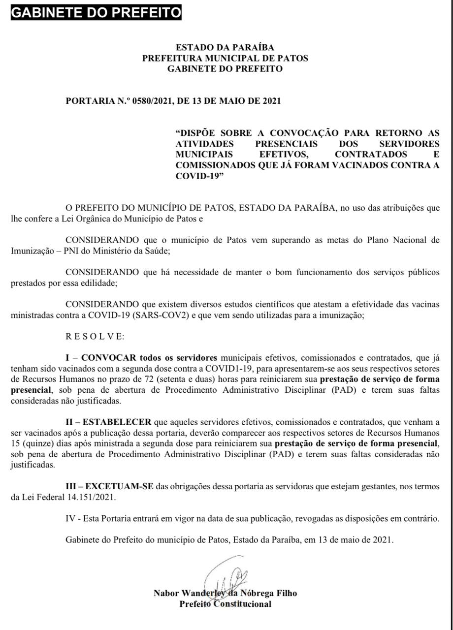 patos portaria - Prefeitura de Patos publica portaria convocando servidores municipais vacinados contra a COVID-19 para se apresentarem ao RH de seus setores