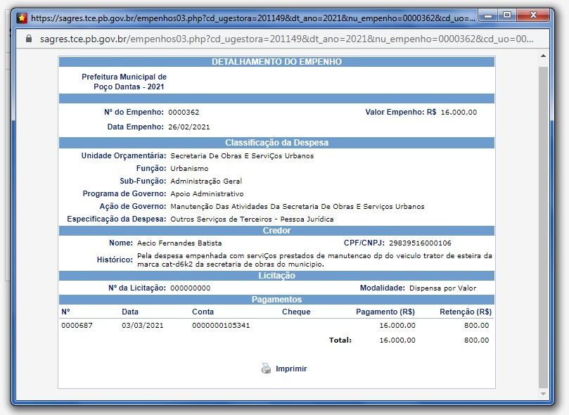 EMPENHO TRATOR - TUDO ISSO? : Prefeitura de Poço Dantas gastou mais de R$ 15 mil reais na manutenção de um trator; VEJA.