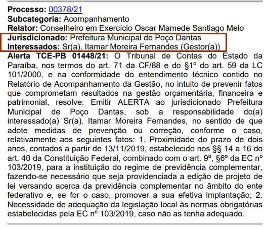 ITAMAR ALERTA - TCE-PB emite alerta e aponta irregularidades no governo Itamar Moreira em Poço Dantas; VEJA
