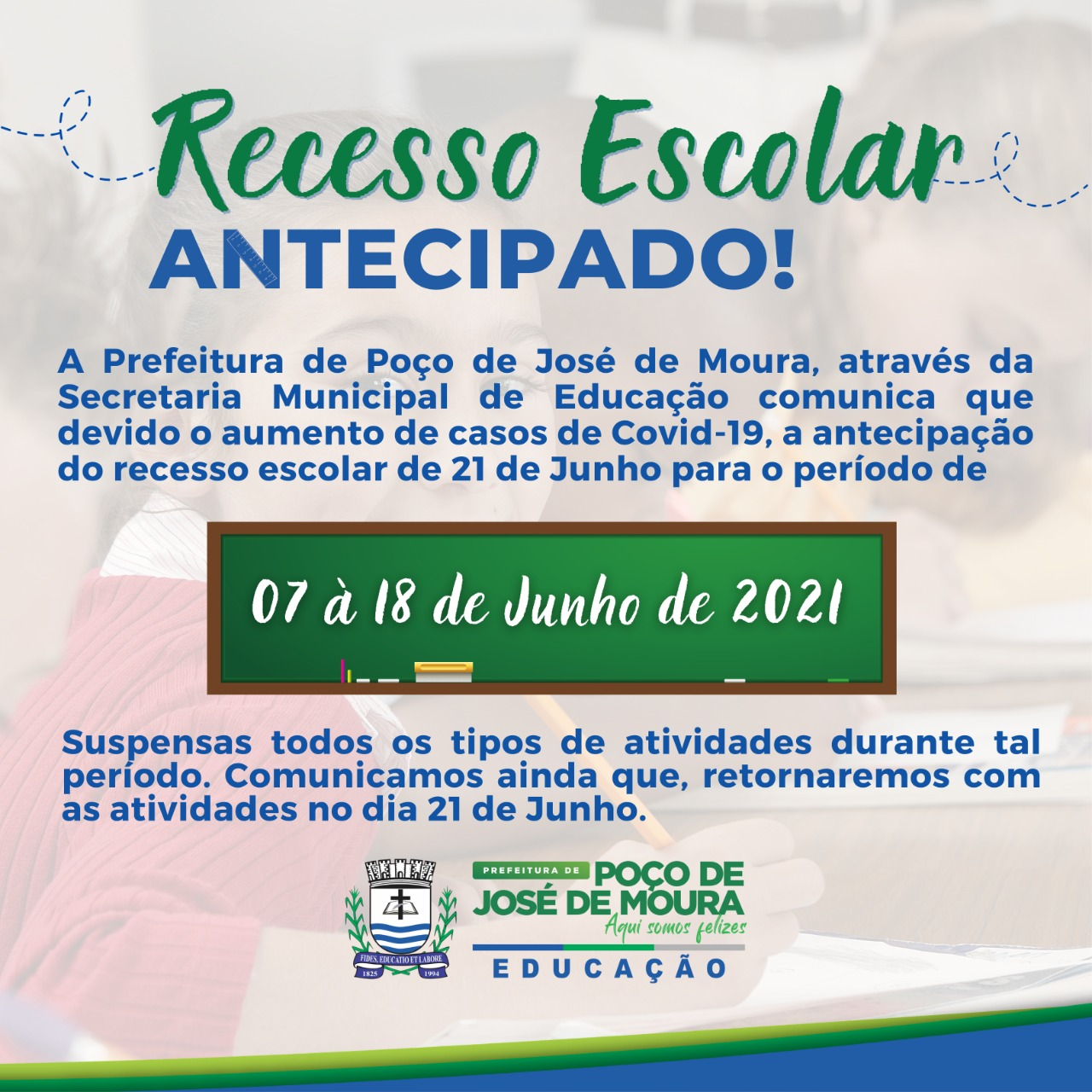 aula2 - Prefeitura de Poço José de Moura antecipa recesso escolar na rede municipal de educação