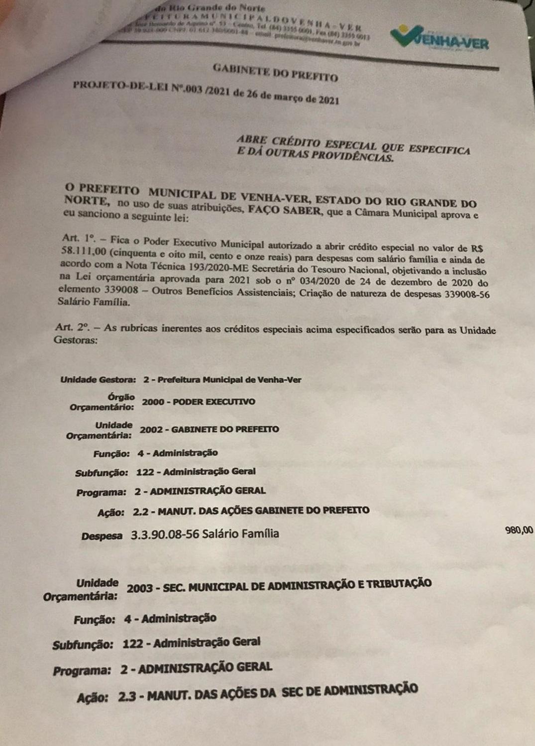 doc vv - PERSEGUIÇÃO: Vereadores de oposição do município de Venha-Ver rejeitam projeto do prefeito que solicitava salário família.