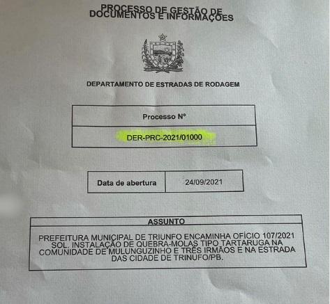 oficio - SEGURANÇA: Prefeito de Triunfo solicita ao DER redutores de velocidade na PB 411