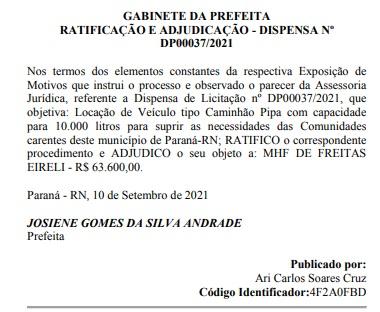 parana2 - SEM CRISE: Prefeita de Paraná anuncia dispensa de licitação com locação de apenas um carro pipa no valor em mais de R$60 Mil; VEJA.